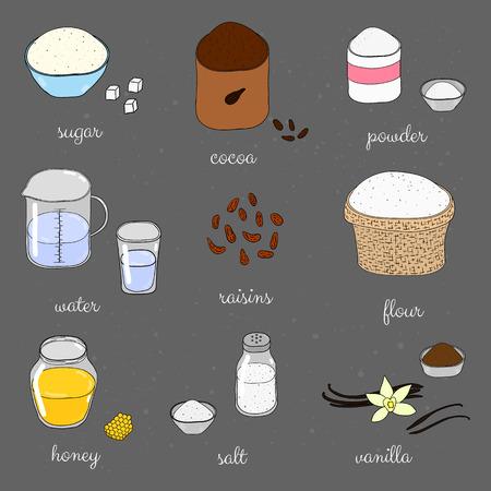 Hand drawn colored baking ingredients on chalkboard. Sugar, cocoa, baking powder, water in beaker, raisins, flour, honey, salt, vanilla. Doodle cooking ingredients set.