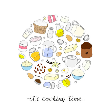 raisin: Hand drawn colored baking ingredients in circle shape. Flour, milk, butter, yogurt, cooking oil, sugar, cream, eggs, cocoa, water, honey, vanilla, salt, powder, raisin. Lettering its cooking time.