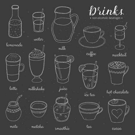 Hand drawn outline non-alcoholic drinks on the blackboard. Lemonade, water, milk, coffee, mocktail, latte, milkshake, juice, ice tea, chocolate, mate, matcha, smoothie, tea, cocoa. Doodle beverages.
