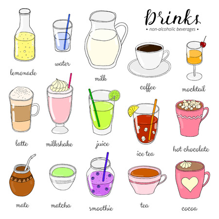 Hand drawn colored non-alcoholic drinks isolated on white. Lemonade, water, milk, coffee, mocktail, latte, milkshake, juice, ice tea, chocolate, mate, matcha, smoothie, tea, cocoa. Doodle beverages.