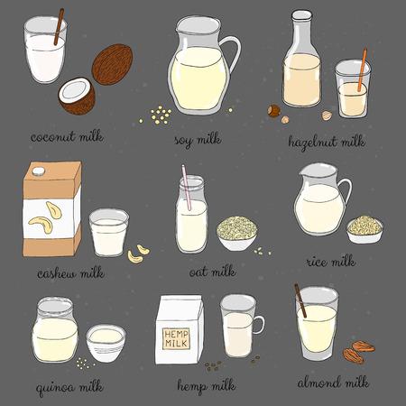 Getrokken gekleurde veganistisch melk op bord. Kokos, soja, hazelnoot, cashew, haver, rijst, quinoa, hennep, amandelmelk. Lactose zuivel gratis drankjes. Melk alternatief voor veganisten.
