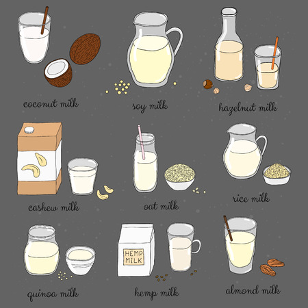 Hand drawn colored vegan milk on chalkboard. Coconut, soy, hazelnut, cashew, oat, rice, quinoa, hemp, almond milk. Lactose dairy free beverages. Milk alternative for vegans.