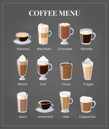 glace: Coffee menu on chalkboard. Different coffee types including espresso, macchiato, chocolate, ristretto, mocha, irish, cocoa, frappe, glace, americano, latte, cappuccino. Foam coffee in glass with names Illustration