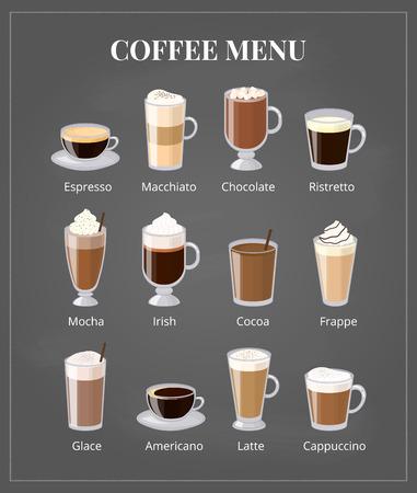 Coffee menu on chalkboard. Different coffee types including espresso, macchiato, chocolate, ristretto, mocha, irish, cocoa, frappe, glace, americano, latte, cappuccino. Foam coffee in glass with names Vectores