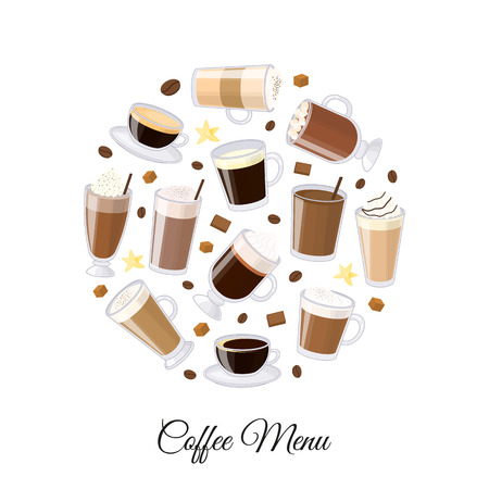 glace: Different coffee types including espresso, macchiato, chocolate, ristretto, mocha, irish, cocoa, frappe, glace, americano, latte, cappuccino in circle shape. Perfect for menu.