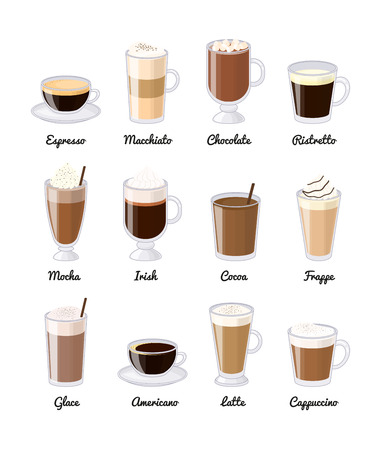 Different coffee drinks isolated on white background. Espresso, macchiato, chocolate, ristretto, mocha, irish, cocoa, frappe, glace, americano, latte, cappuccino. 向量圖像