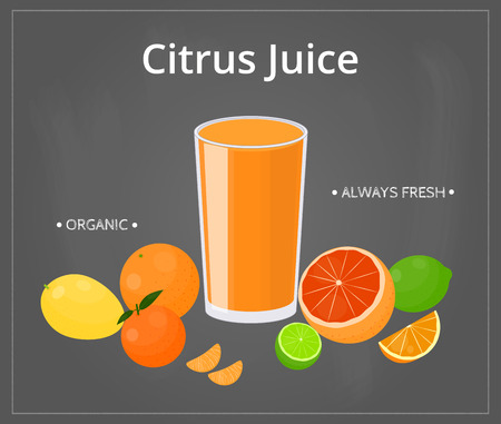 citron: Cartoon citrus juice with fruits on chalkboard background with frame. Perfect for menu and posters.