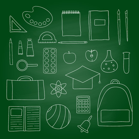 mortar board: outline school and university icons on green blackboard. Paints, palette, apple, ruler, backpack, ball, pen, notebook, bell, brushes, loupe, protractor, calculator, mortar board.