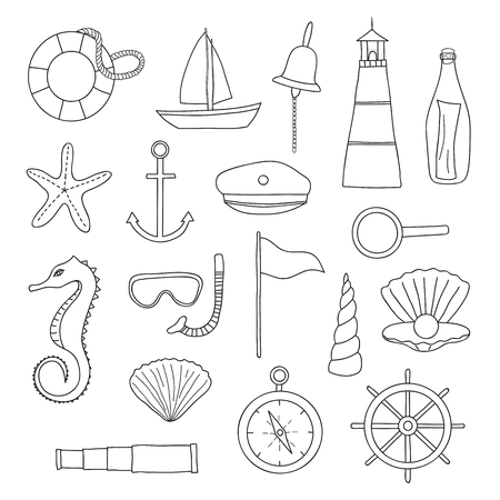 suite: outline nautical items on white background. Sailboat, lighthouse, anchor, shell, starfish, compass, spyglass, wheel, lifebuoy, loupe, pearl, snorkel, mask, seahorse, bottle, sailor suite. Illustration