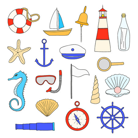 suite: nautical items isolated on white background. Sailboat, lighthouse, anchor, shell, starfish, compass, spyglass, wheel, lifebuoy, loupe, pearl, snorkel, mask, seahorse, bottle, sailor suite.
