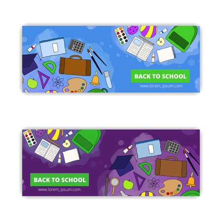 ball pens stationery: banner templates with hand drawn school, university items isolated on white background. Vectores