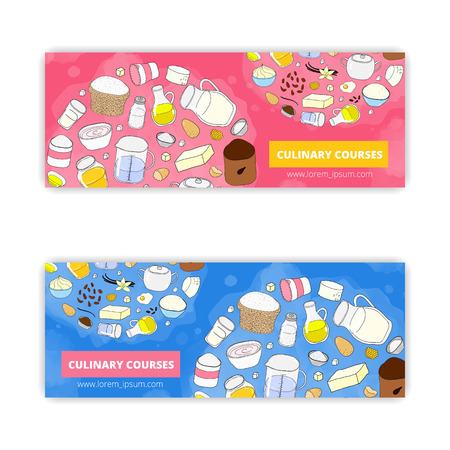 culinary: banner templates with hand drawn culinary items isolated on white background.
