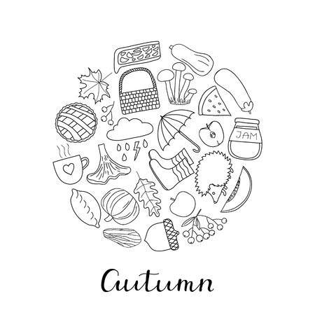 pumpkin pie: Hand drawn outline autumn items in circle shape with lettering.