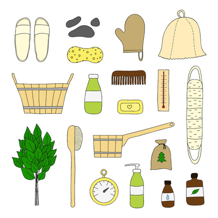 finnish bath: Hand drawn bath and sauna items isolated on white background. Illustration