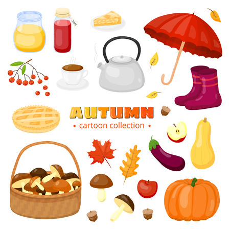 Collection of autumn items in cartoon style isolated on white background.
