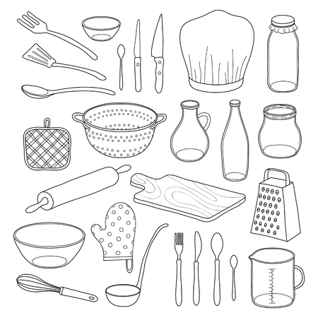 Hand drawn outline kitchen utensils isolated on white background.