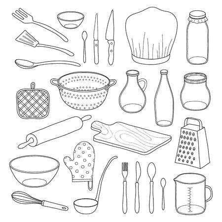 Hand getrokken schets keukengerei op een witte achtergrond.
