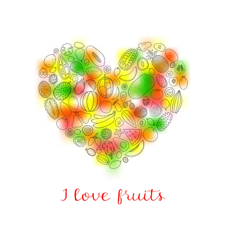 gradient mesh: Hand drawn tropical fruits in heart shape with lettering and gradient mesh.
