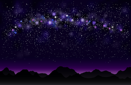 Milky way in the mountains. Night starry sky background.