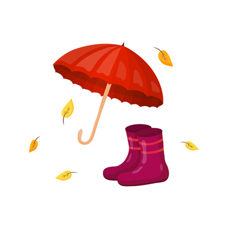 wellingtons: Umbrella, rain boots and yellow leaves in cartoon style isolated on white background.