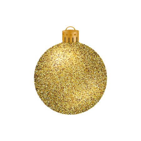 Realistic golden Christmas ball or bauble with glitter texture isolated on white background. Illustration