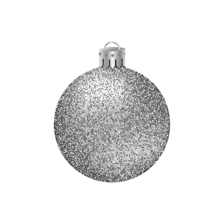 Realistic silver Christmas ball or bauble with glitter texture isolated on white background. Illustration