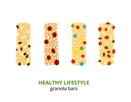 Set van verschillende cartoon kleurrijke granola bars geïsoleerd op een witte achtergrond. Vector Illustratie