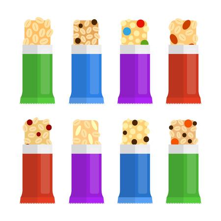 Reeks verschillende vlakke kleurrijke granolastaven in aan het licht gebracht pak dat op witte achtergrond wordt geïsoleerd. Vector Illustratie