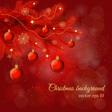 Magic Christmas and New Year background with pine tree twig, glossy balls, garland in red colors. Illustration