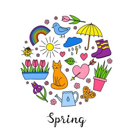 rainbow umbrella: Hand drawn spring items in circle.