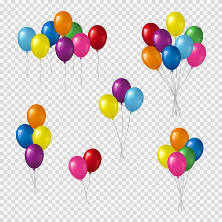 Bunches of helium balloons.