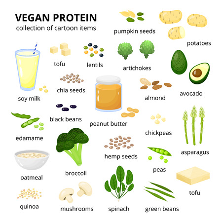 Set van veganistische eiwitbronnen.