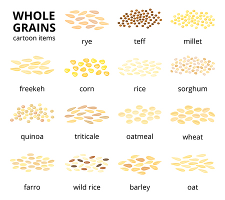 Set of cartoon grains.
