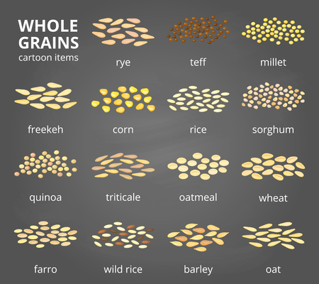 spelt: Set of cartoon grains.