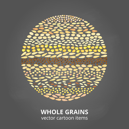 Cereal grains in circle.