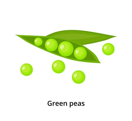 Cartoon green peas. Illustration