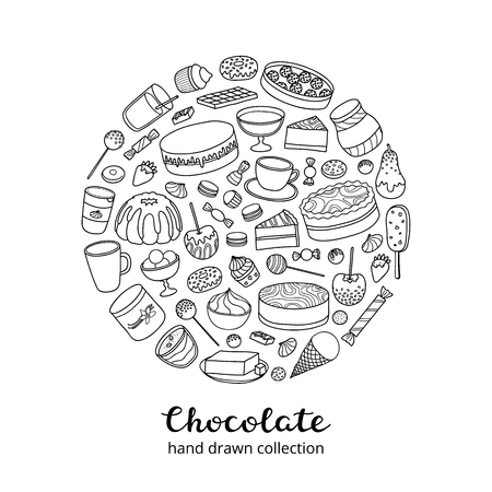 Doodle chocolate products in circle. 向量圖像
