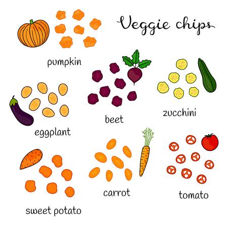 Set of doodle veggie chips.