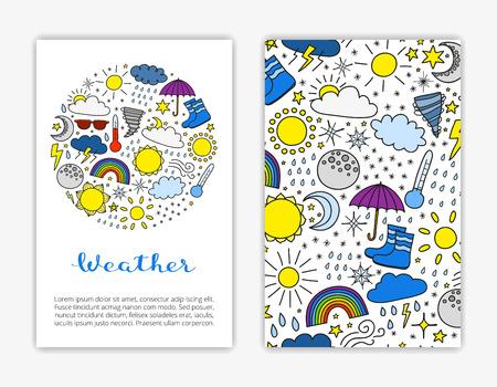 Modelos de cartão com itens de tempo colorido doodle. Máscara de corte usada. Ilustración de vector