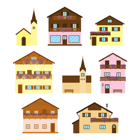 Set of Alpine wooden houses, chalets, hotels and churches in flat style isolated on white background.