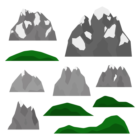 Set of Alps, glaciers and hills. Ilustrace