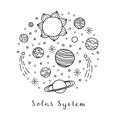 Hand drawn planets, stars in circle.