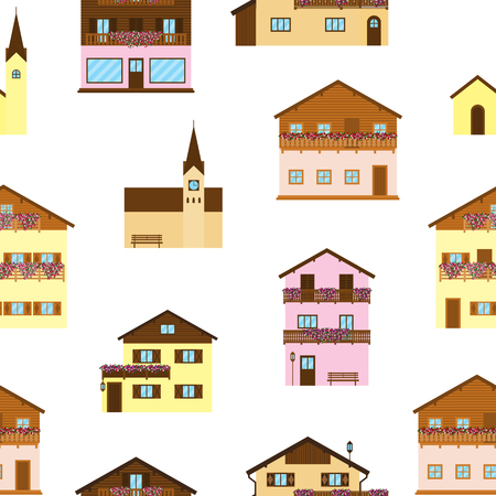 Alpine houses seamless pattern. Ilustrace
