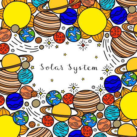 Square background with hand drawn planets, stars. Vectores