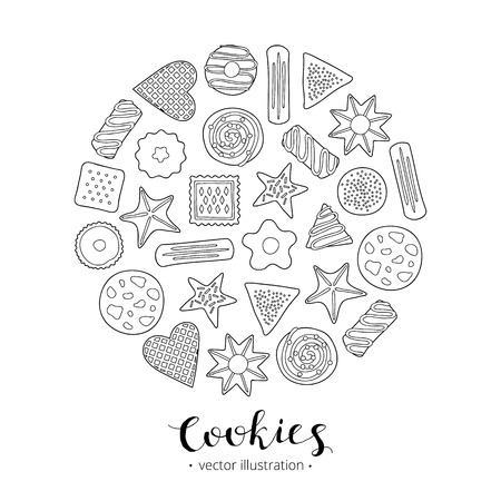 Hand drawn cookies in circle. Ilustrace