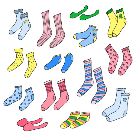 Set of different doodle socks.