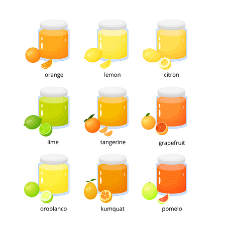 Collection of cartoon citrus jams. Banque d'images - 97655759