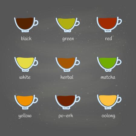 Different kinds of tea doodle. Ilustrace
