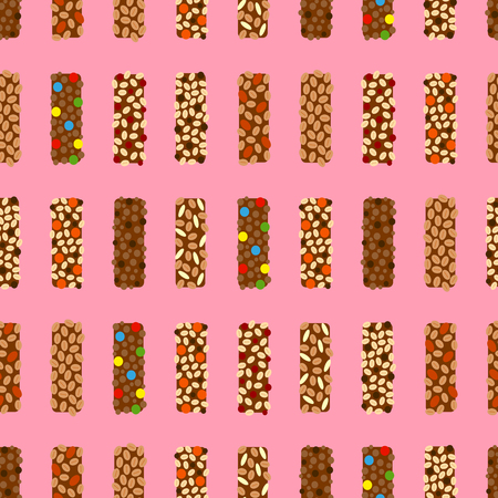 Seamless pattern with granola bars.