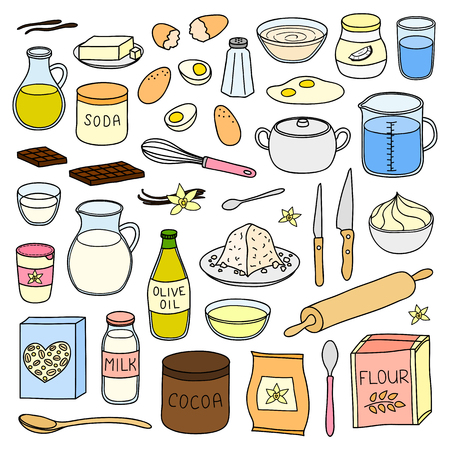 Set of hand drawn cooking, baking ingredients.